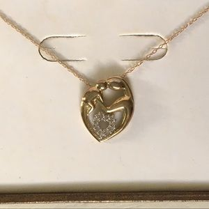 Jewelry - Mother Baby Gold Diamond Pendant Chain Necklace